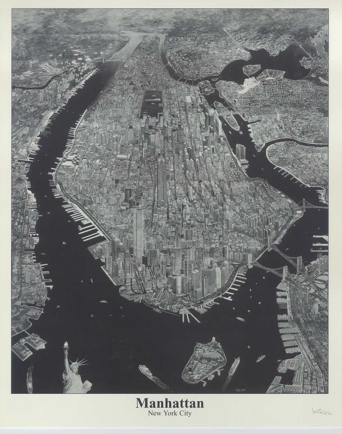 Manhatton New York City Pencil Drawing by Krikko!!! It Took 4 Years and 2496 Pencils to Make The Original is 20FT by 15FT!!!  Important Note!  For Purchases go to Krikko's website listed below.  Do not order from me.  My photo here is a low resolution.  G