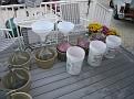 The filling process...  Grape Juice into Demijons, via big plastic funnels.