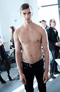 NEW YORK, NY - FEBRUARY 02: A model getting ready backstage at Loris Diran - NYFW: Men's at Skylight Clarkson North on February 2, 2017 in NYC.