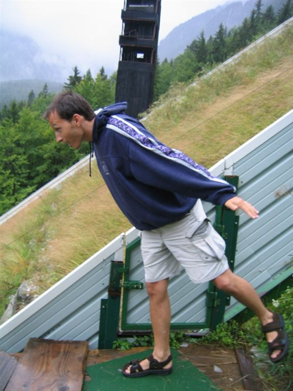 Vid at the ski jump in Slovenia.  Showing how it is done!!!   He said it's the longest jump in the world!!!