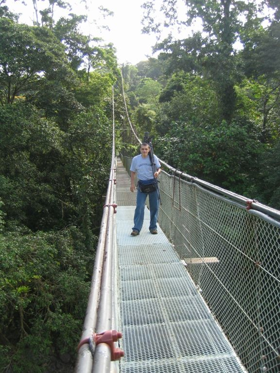 Willy,,,  our biological expert leader on one of the many canopy bridges we must cross...