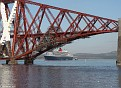 Firth of Forth Railway Bridge with QM2
