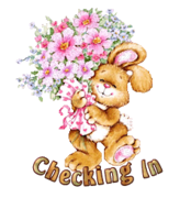 Checking In - BunnyWithFlowers