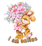 I am online - BunnyWithFlowers