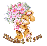 Thinking of you - BunnyWithFlowers