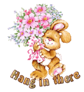Hang in there - BunnyWithFlowers