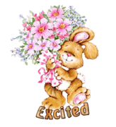 Excited - BunnyWithFlowers