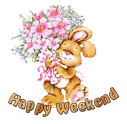 Happy Weekend - BunnyWithFlowers