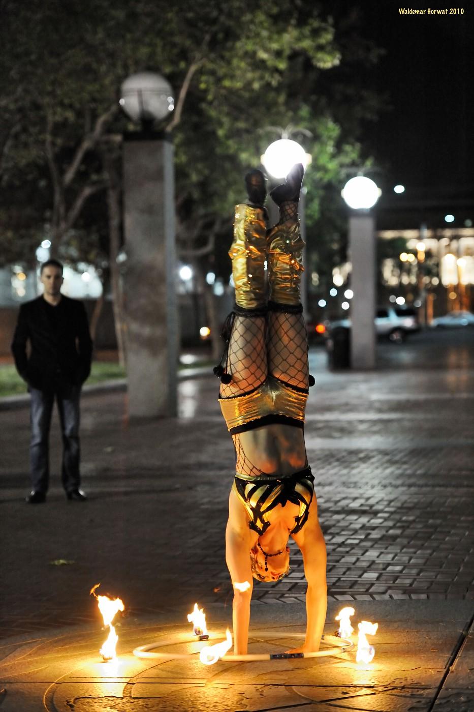 Fire Hoop Handstand