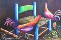 """Dos amigos  36"""" x 24"""". Huile sur canvas. (Collection privee de Elza Duplessy)."""