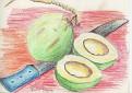 Machette et noix de coco.