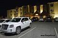 Första övernattningen, hyrbilen parkerad utanför motellet i Wheeler Ridge, Lebec.