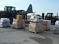 Unloading the plane in Haiti