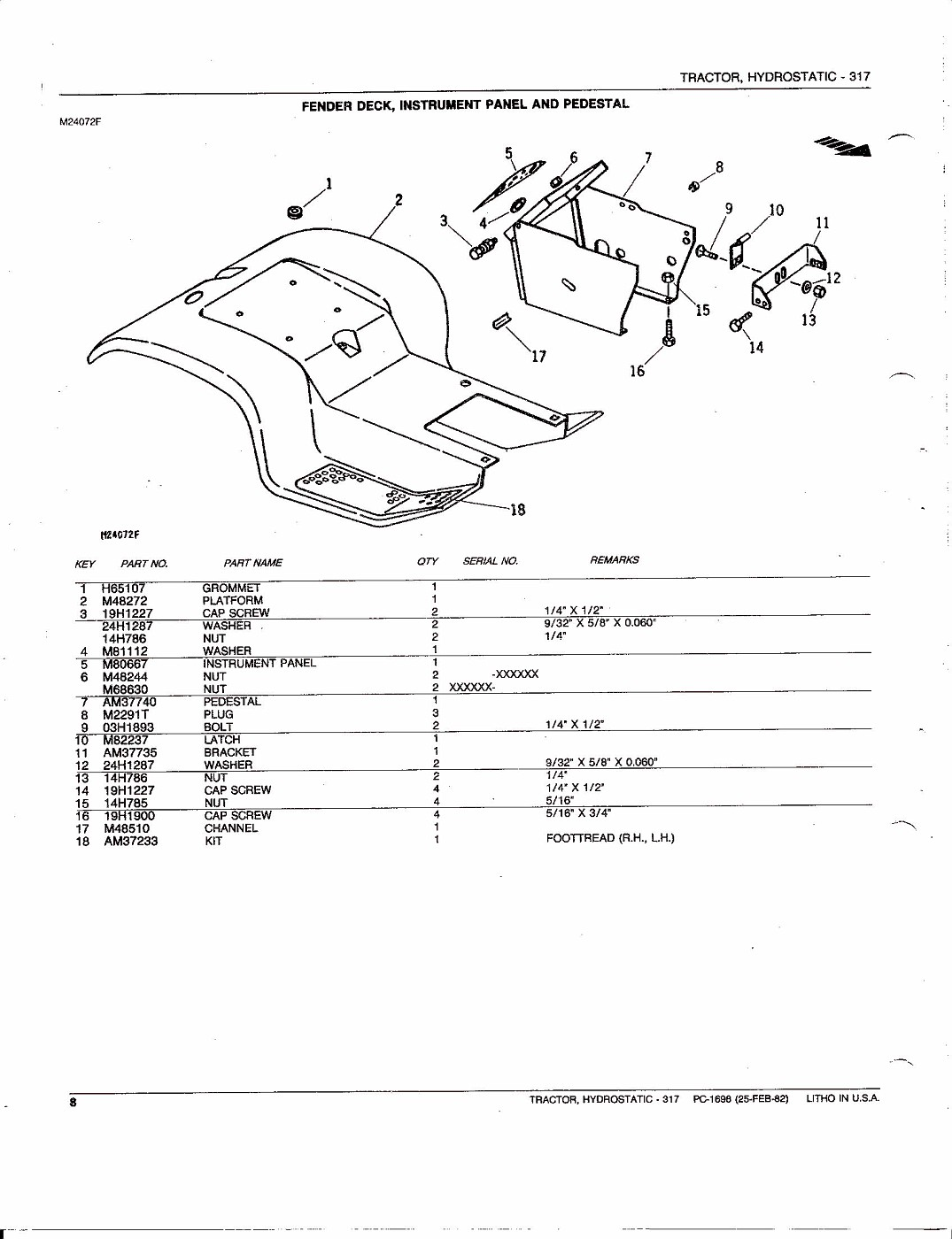 photo  john deere 317 hydrostatic tractor parts catalog