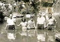 Old Time Baptising. If you know Where, please tell me so I can update this picture.Left to right: Rev. James L. Lloyd, Pearl Lawson (or Tennessee Bowling), Tom Day, London Harness, and Rev. Roy Harness.