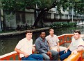 SFC Roger Free, SMG Unknown, SFC E. Ray Austin, Unknown, on River Taxi in San Antonio, TX.
