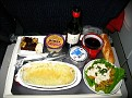 Air France Flight Meal,,,  Salmon mixed with Mashed Potatoes...  Red Wine is FREE!!!
