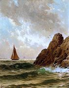 Sailboats off a Rocky Shore [undated]