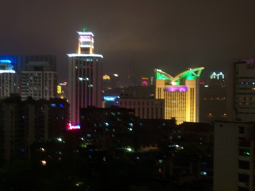 Chongqing at night -- fromthe Hilton hotel -- I highly reccomend this hotel.