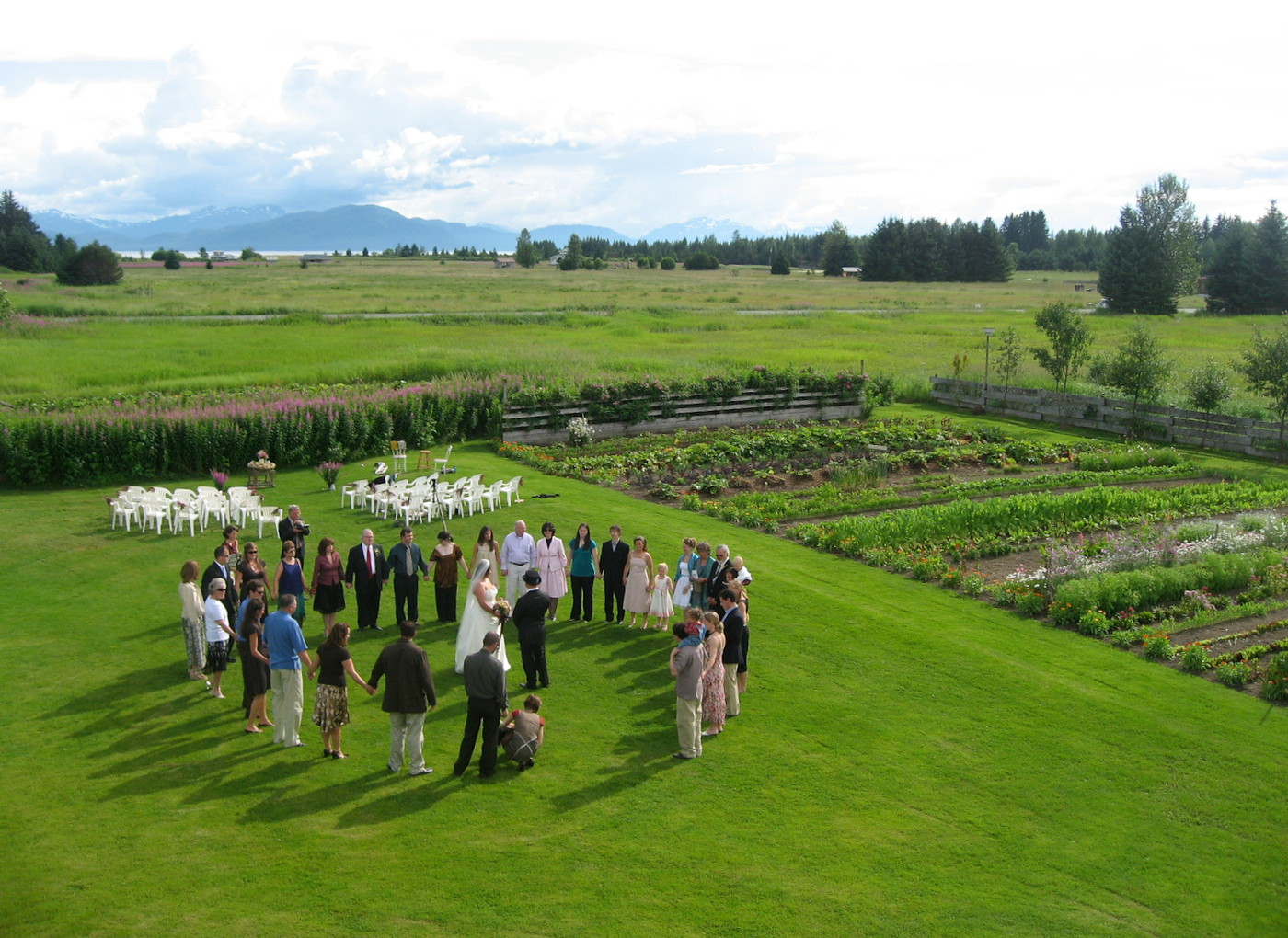 Wedding circle on the lawn
