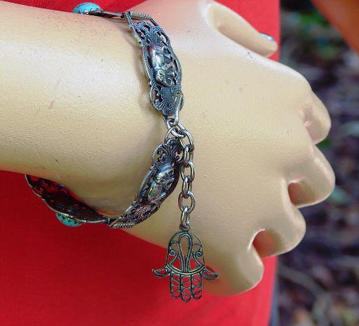 Vintage Hamsa Amulet 5-Panel Filigree Bracelet
