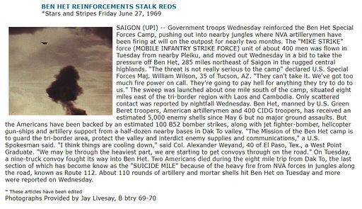 BEN HET REINFORCEMENTS STALK REDS *Stars and Stripes Friday June 27, 1969
