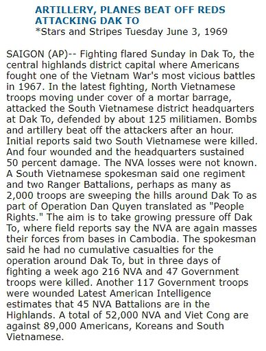 ARTILLERY, PLANES BEAT OFF REDS ATTACKING DAK TO *Stars and Stripes Tuesday June 3, 1969