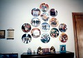 Beatles plates wall display in Debra's home office, closeup