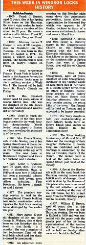 2014-10-24 - MICKEY DANYLUK - THIS WEEK IN WINDSOR LOCKS HISTORY